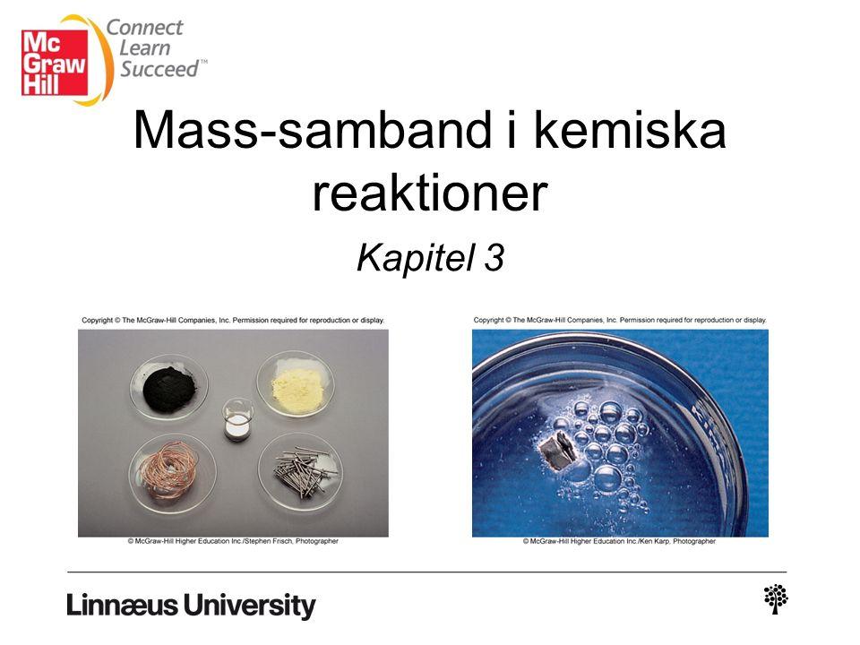 Per definition: 1 atom 12 C väger 12 amu I denna skala: 1 H = 1.008 amu 16 O = 16.00 amu Atom-massa är massan av en atom i atom- massenheter (atomic mass units), amu (u).