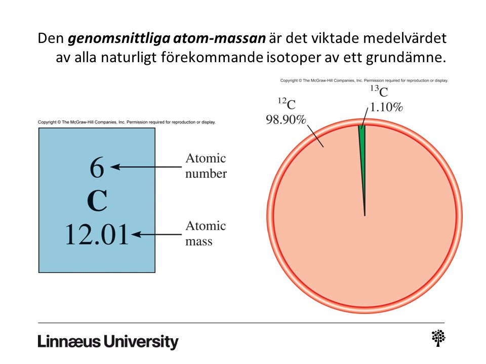 Den genomsnittliga atom-massan är det viktade medelvärdet av alla naturligt förekommande isotoper av ett grundämne.