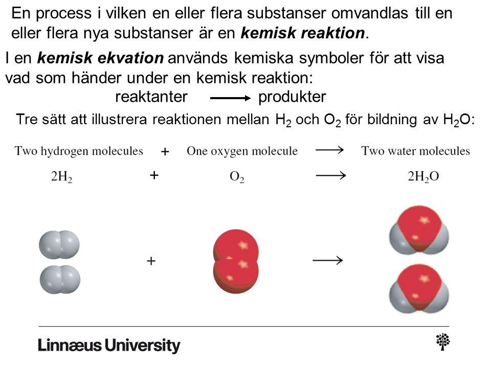Tre sätt att illustrera reaktionen mellan H 2 och O 2 för bildning av H 2 O: En process i vilken en eller flera substanser omvandlas till en eller fle