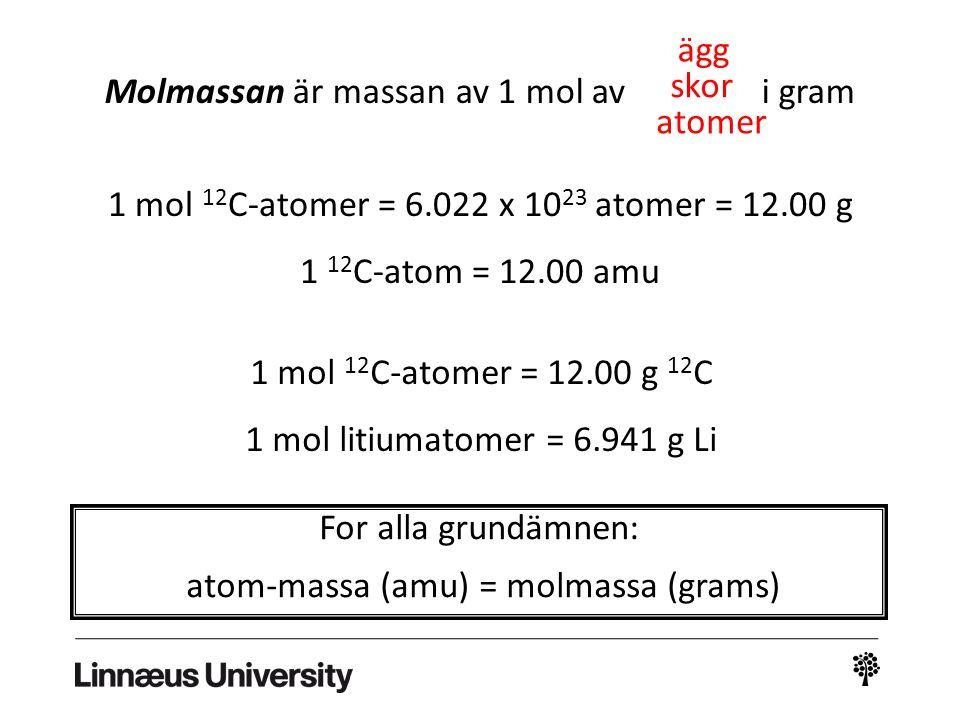 Molmassan är massan av 1 mol av i gram ägg skor atomer 1 mol 12 C-atomer = 6.022 x 10 23 atomer = 12.00 g 1 12 C-atom = 12.00 amu 1 mol 12 C-atomer =