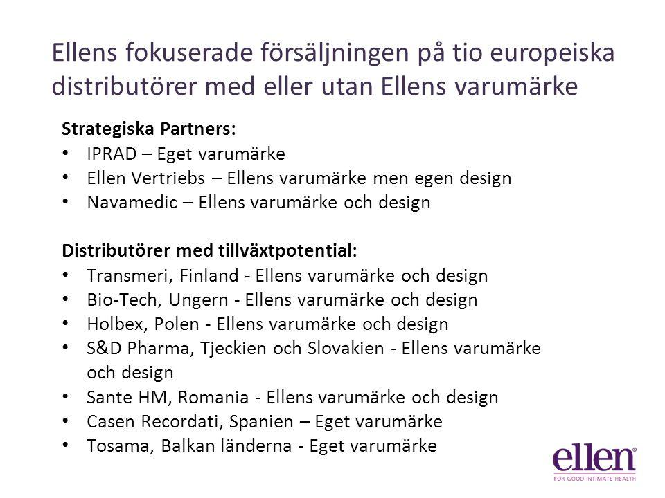 Ellens fokuserade försäljningen på tio europeiska distributörer med eller utan Ellens varumärke Strategiska Partners: IPRAD – Eget varumärke Ellen Vertriebs – Ellens varumärke men egen design Navamedic – Ellens varumärke och design Distributörer med tillväxtpotential: Transmeri, Finland - Ellens varumärke och design Bio-Tech, Ungern - Ellens varumärke och design Holbex, Polen - Ellens varumärke och design S&D Pharma, Tjeckien och Slovakien - Ellens varumärke och design Sante HM, Romania - Ellens varumärke och design Casen Recordati, Spanien – Eget varumärke Tosama, Balkan länderna - Eget varumärke