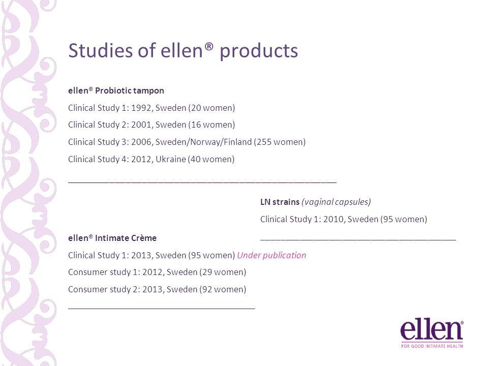 Studies of ellen® products ellen® Probiotic tampon Clinical Study 1: 1992, Sweden (20 women) Clinical Study 2: 2001, Sweden (16 women) Clinical Study 3: 2006, Sweden/Norway/Finland (255 women) Clinical Study 4: 2012, Ukraine (40 women) __________________________________________________ LN strains (vaginal capsules) Clinical Study 1: 2010, Sweden (95 women) _________________________________________ ellen® Intimate Crème Clinical Study 1: 2013, Sweden (95 women) Under publication Consumer study 1: 2012, Sweden (29 women) Consumer study 2: 2013, Sweden (92 women) ______________________________________________