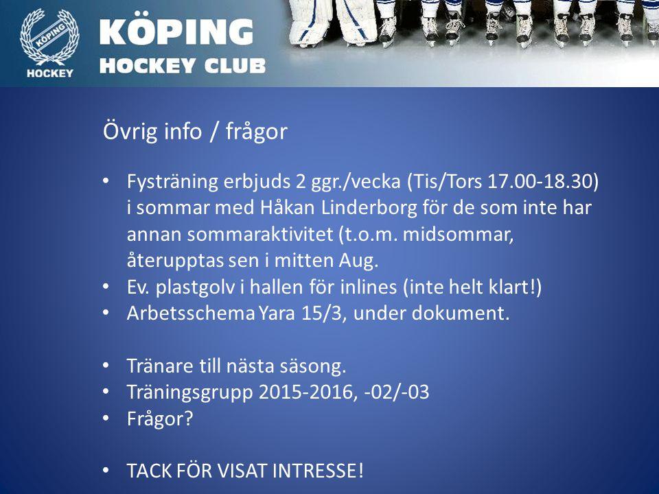Övrig info / frågor Fysträning erbjuds 2 ggr./vecka (Tis/Tors 17.00-18.30) i sommar med Håkan Linderborg för de som inte har annan sommaraktivitet (t.o.m.