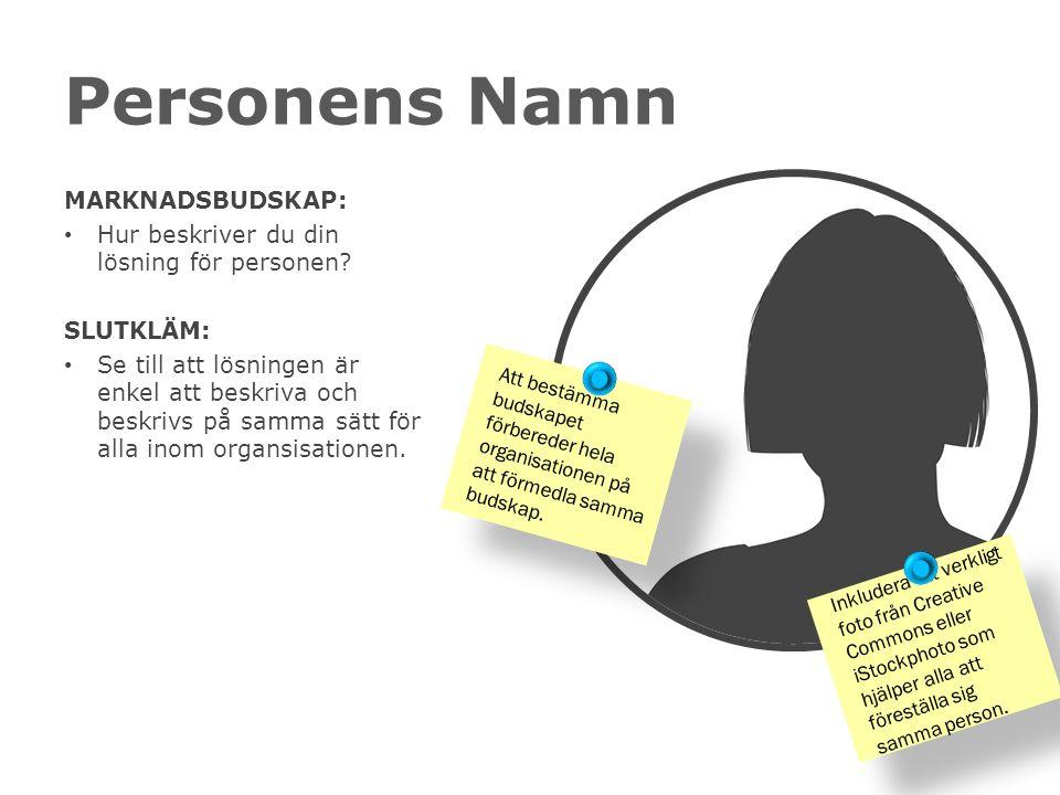 Personens Namn MARKNADSBUDSKAP: Hur beskriver du din lösning för personen.