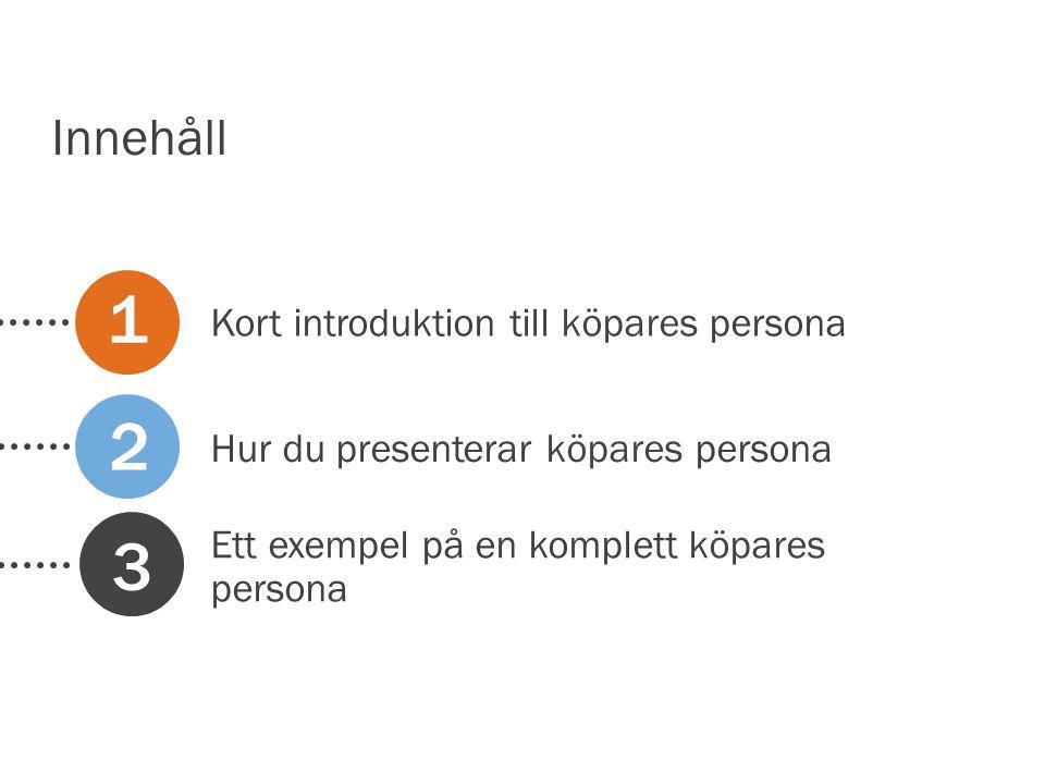 Kort introduktion till köpares persona Hur du presenterar köpares persona Ett exempel på en komplett köpares persona 1 2 3 Innehåll