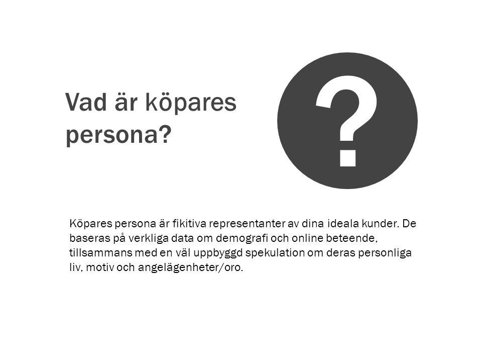 Vad är köpares persona.Köpares persona är fikitiva representanter av dina ideala kunder.