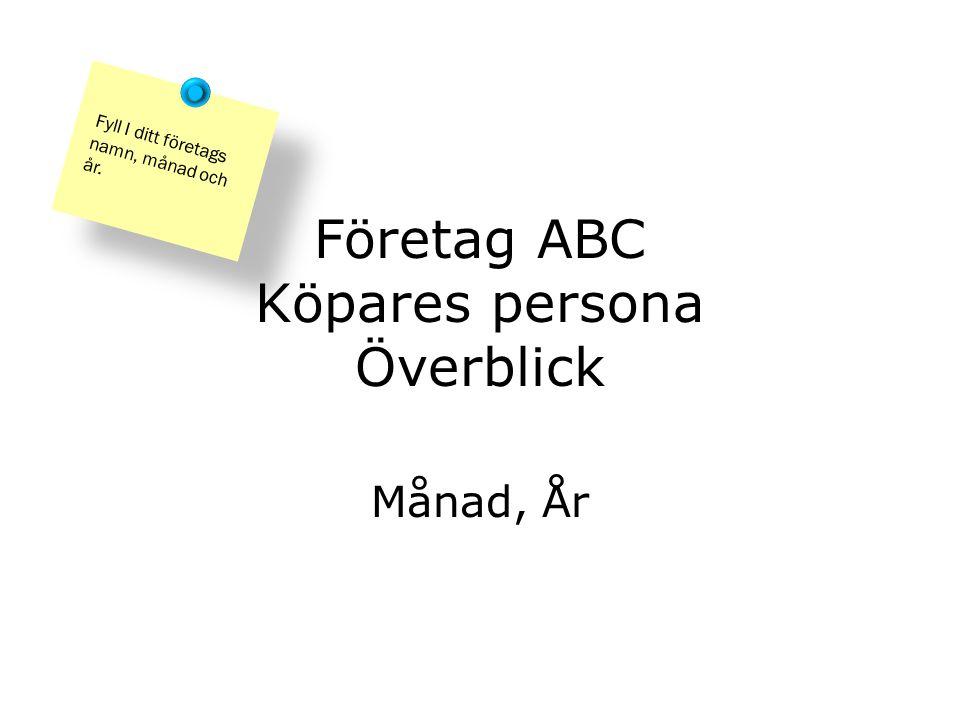 Företag ABC Köpares persona Överblick Månad, År Fyll I ditt företags namn, månad och år.