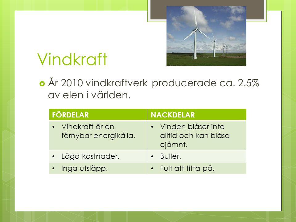 Vindkraft  År 2010 vindkraftverk producerade ca. 2.5% av elen i världen. FÖRDELARNACKDELAR Vindkraft är en förnybar energikälla. Vinden blåser inte a