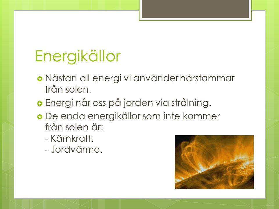 Solenergi  En direkt form av energiproduktion.FÖRDELARNACKDELAR Förnybar energikälla.