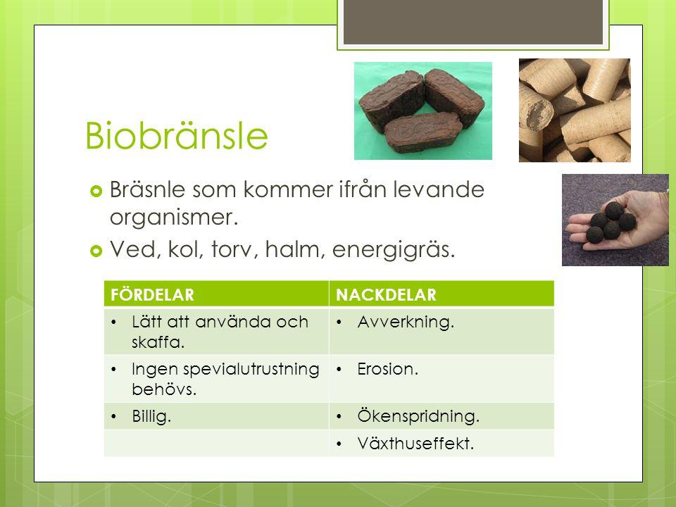 Biobränsle  Bräsnle som kommer ifrån levande organismer.  Ved, kol, torv, halm, energigräs. FÖRDELARNACKDELAR Lätt att använda och skaffa. Avverknin