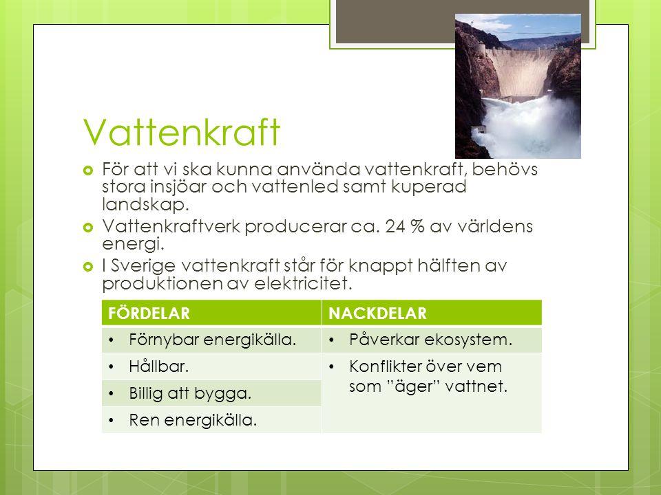 Vattenkraft  För att vi ska kunna använda vattenkraft, behövs stora insjöar och vattenled samt kuperad landskap.  Vattenkraftverk producerar ca. 24