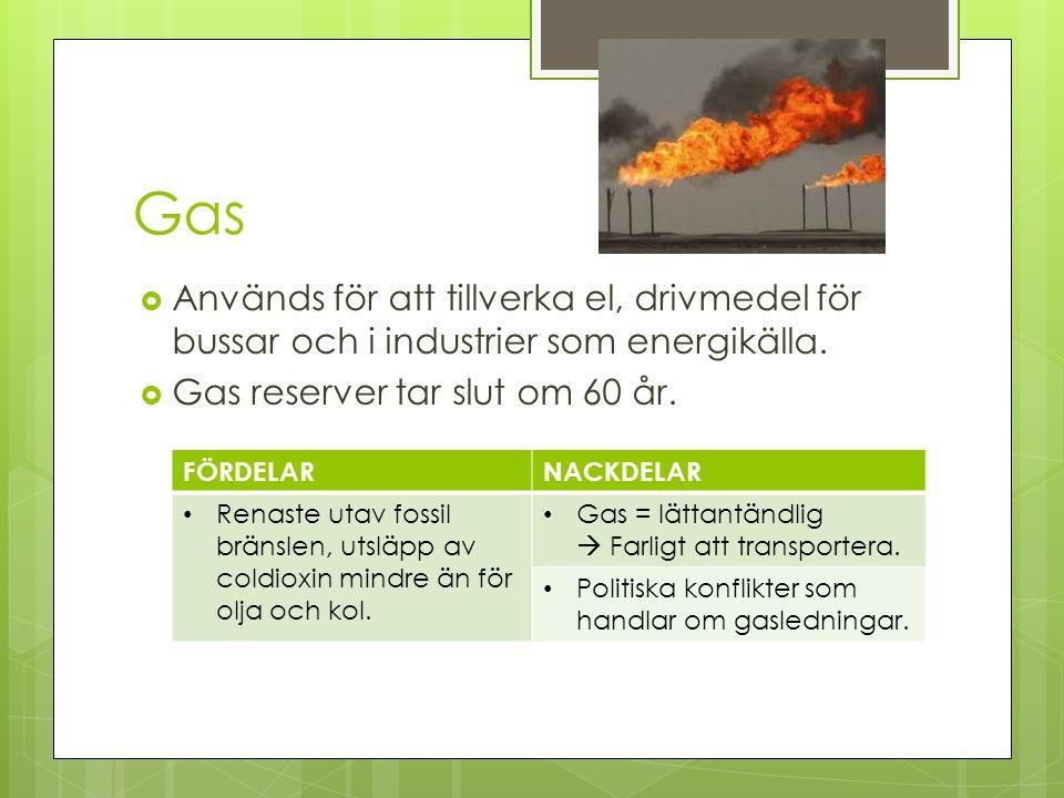 Gas  Används för att tillverka el, drivmedel för bussar och i industrier som energikälla.  Gas reserver tar slut om 60 år. FÖRDELARNACKDELAR Renaste