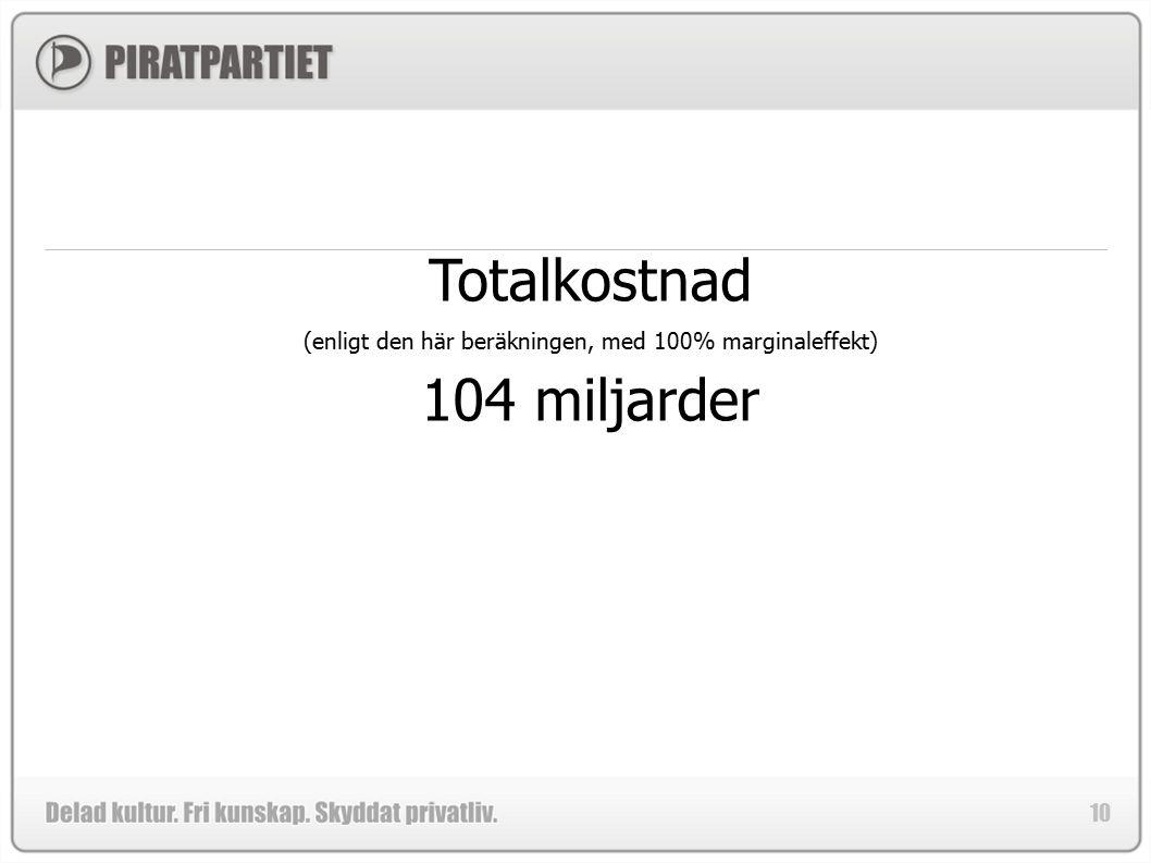 10 Totalkostnad (enligt den här beräkningen, med 100% marginaleffekt) 104 miljarder