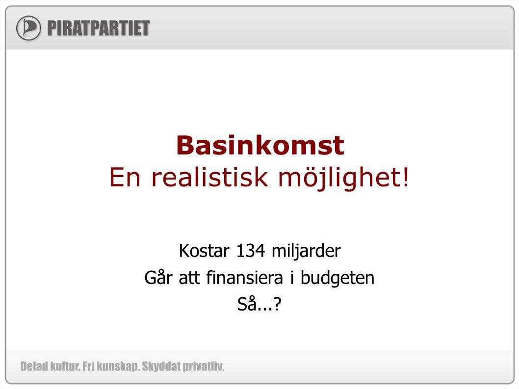 Basinkomst En realistisk möjlighet! Kostar 134 miljarder Går att finansiera i budgeten Så...?