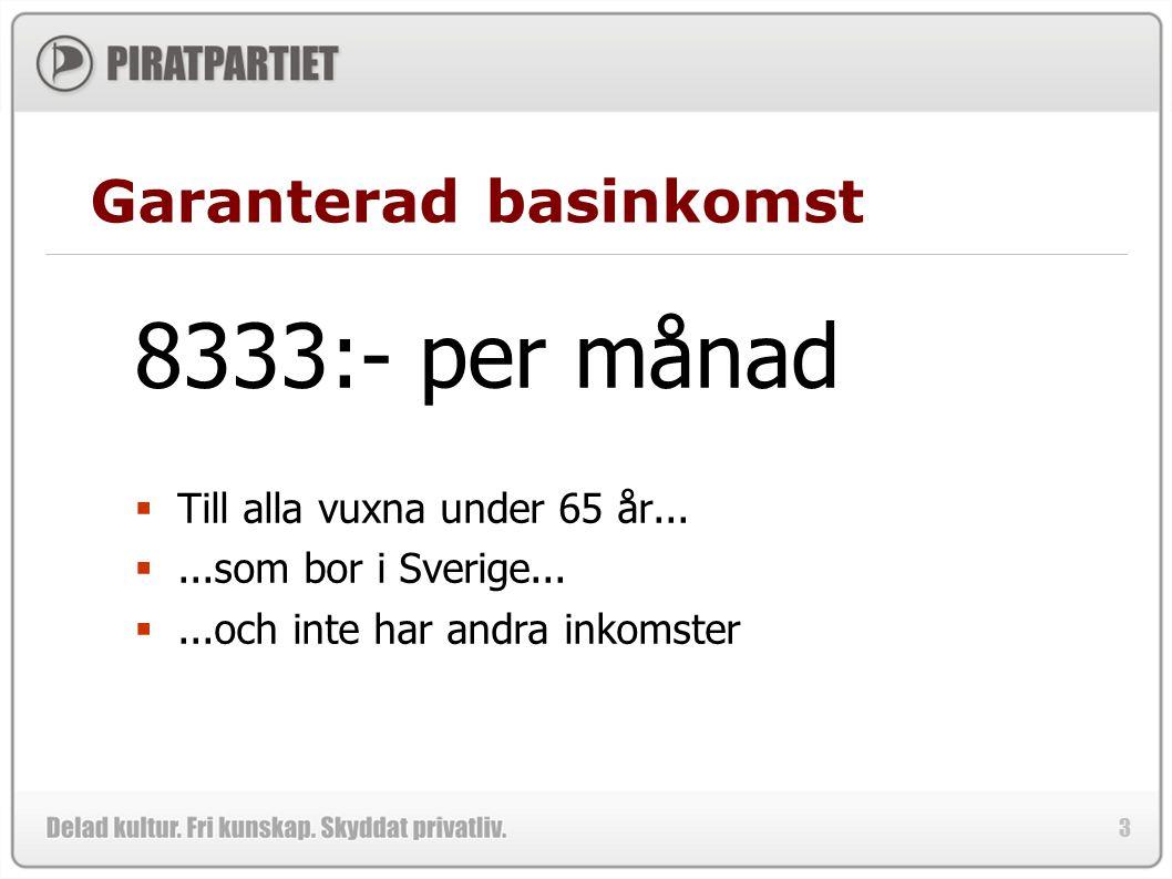 3 Garanterad basinkomst 8333:- per månad  Till alla vuxna under 65 år... ...som bor i Sverige... ...och inte har andra inkomster