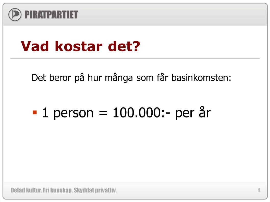 4 Vad kostar det? Det beror på hur många som får basinkomsten:  1 person = 100.000:- per år