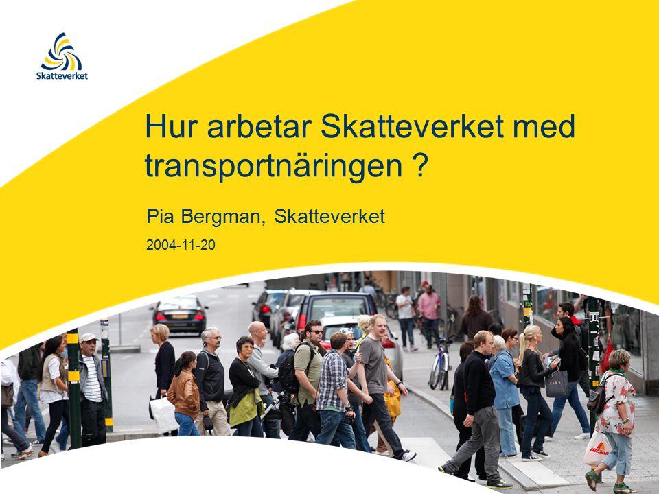 Hur arbetar Skatteverket med transportnäringen Pia Bergman, Skatteverket 2004-11-20