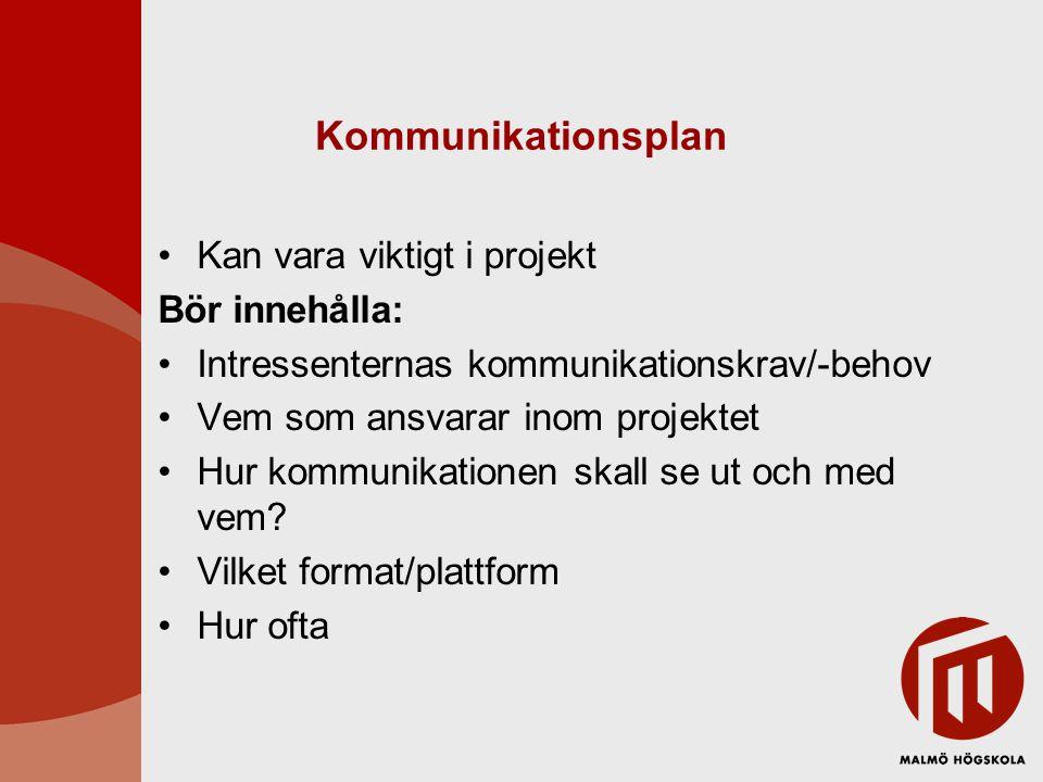 Kommunikationsplan Kan vara viktigt i projekt Bör innehålla: Intressenternas kommunikationskrav/-behov Vem som ansvarar inom projektet Hur kommunikati