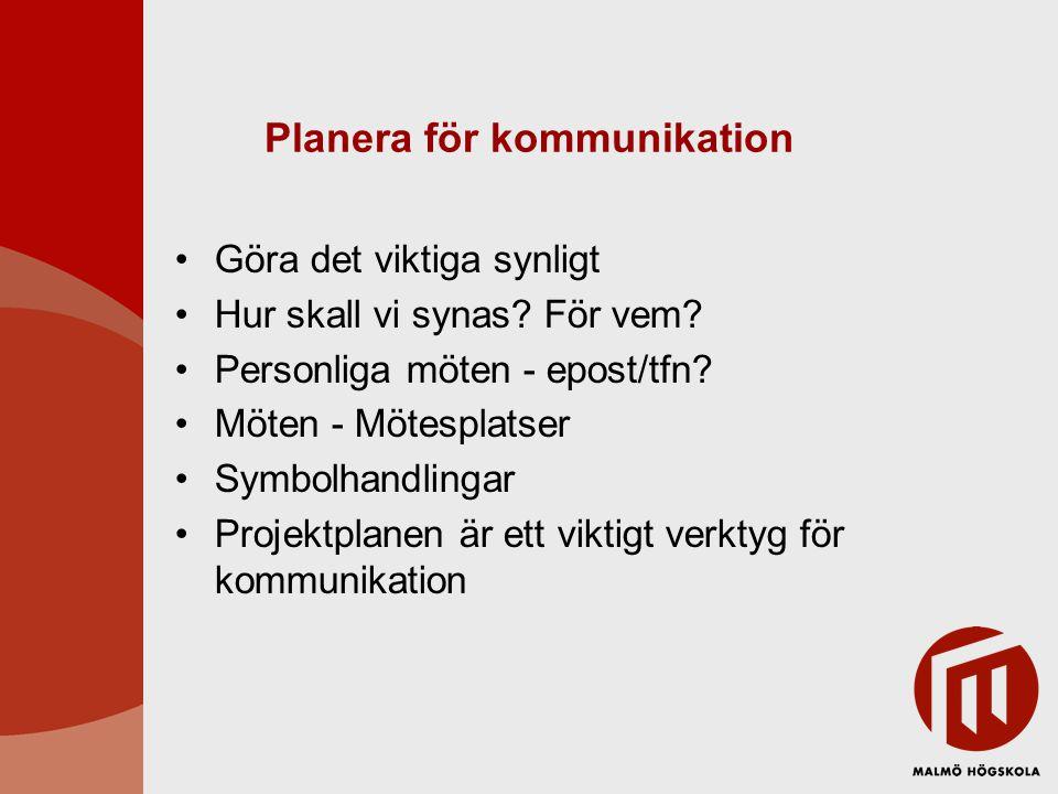 Planera för kommunikation Göra det viktiga synligt Hur skall vi synas? För vem? Personliga möten - epost/tfn? Möten - Mötesplatser Symbolhandlingar Pr
