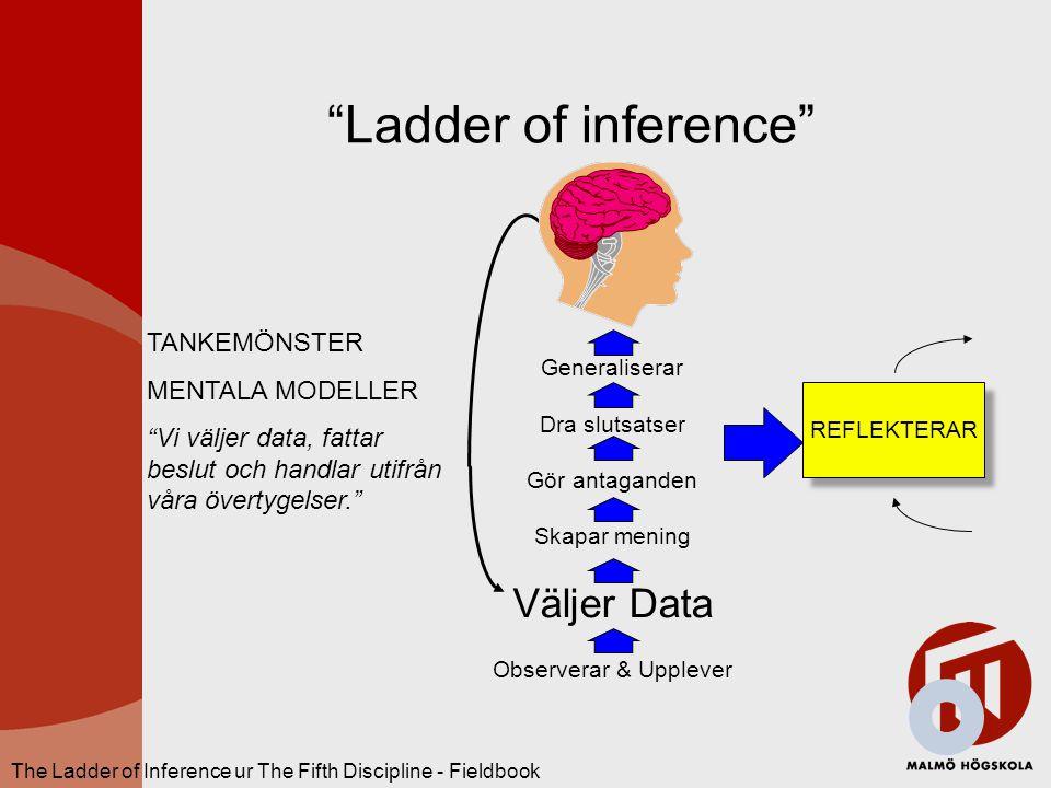 """""""Ladder of inference"""" REFLEKTERAR Generaliserar Dra slutsatser Gör antaganden Skapar mening Väljer Data Observerar & Upplever The Ladder of Inference"""