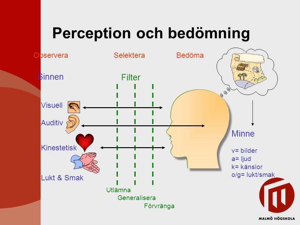 Utlämna Generalisera Förvränga Visuell Filter Auditiv Kinestetisk Perception och bedömning ObserveraSelekteraBedöma Minne v= bilder a= ljud k= känslor
