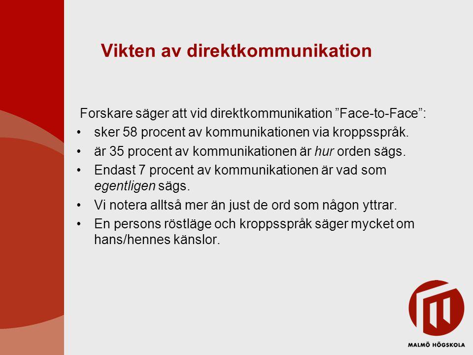 """Vikten av direktkommunikation Forskare säger att vid direktkommunikation """"Face-to-Face"""": sker 58 procent av kommunikationen via kroppsspråk. är 35 pro"""