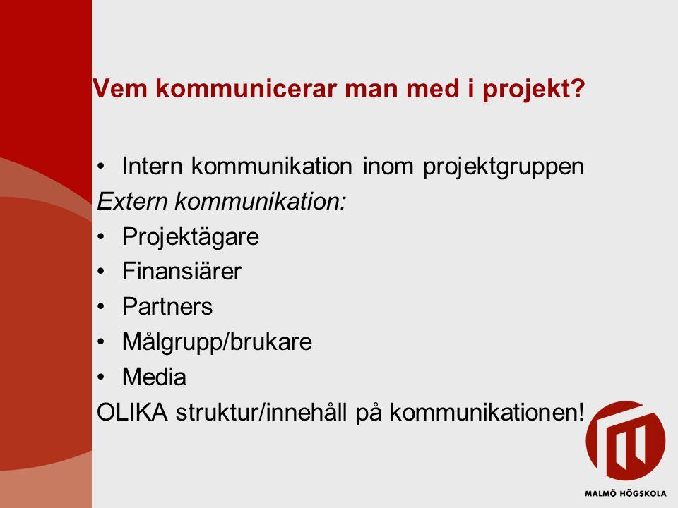 Vem kommunicerar man med i projekt? Intern kommunikation inom projektgruppen Extern kommunikation: Projektägare Finansiärer Partners Målgrupp/brukare