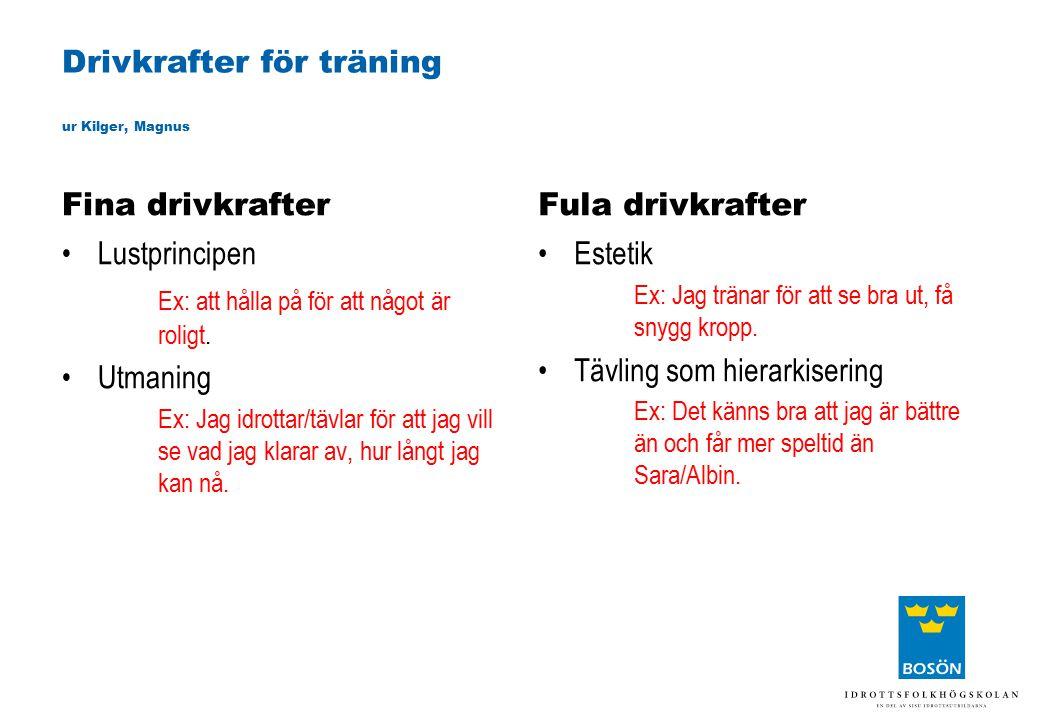 Drivkrafter för träning ur Kilger, Magnus Fina drivkrafter Lustprincipen Ex: att hålla på för att något är roligt. Utmaning Ex: Jag idrottar/tävlar fö