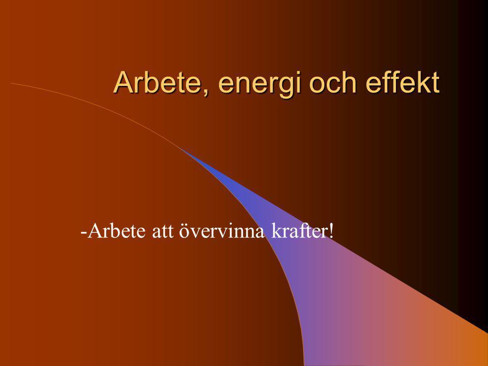 Arbete, energi och effekt -Arbete att övervinna krafter!