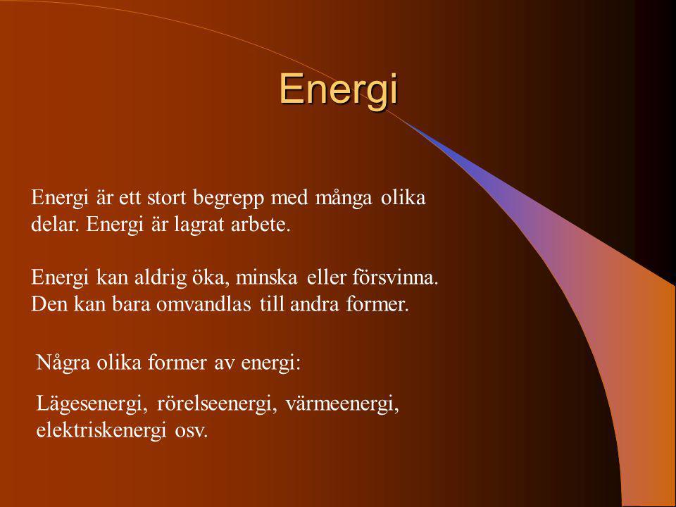 Energi Energi är ett stort begrepp med många olika delar. Energi är lagrat arbete. Energi kan aldrig öka, minska eller försvinna. Den kan bara omvandl