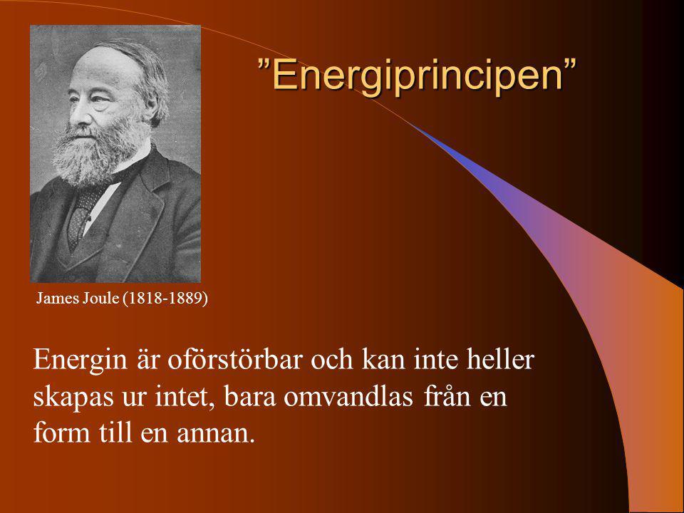 """""""Energiprincipen"""" Energin är oförstörbar och kan inte heller skapas ur intet, bara omvandlas från en form till en annan. James Joule (1818-1889)"""