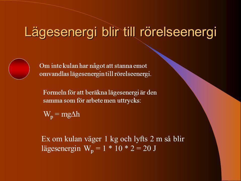 Lägesenergi blir till rörelseenergi Om inte kulan har något att stanna emot omvandlas lägesenergin till rörelseenergi. Formeln för att beräkna lägesen