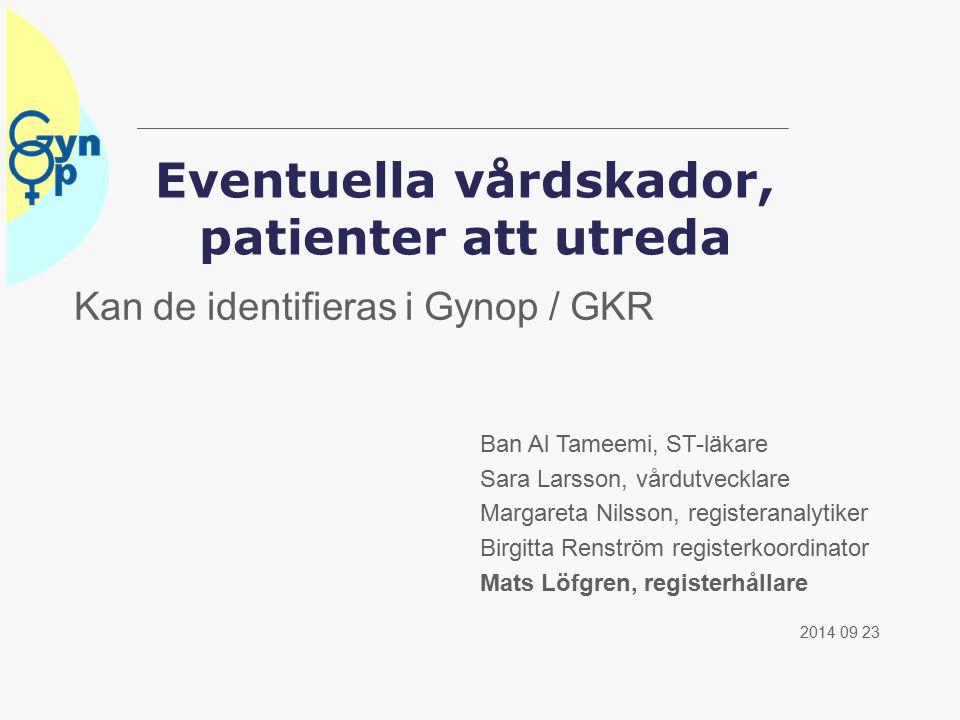 Vilka operationer har högst risk  Relaterat operationsvolymerna har:  Hysterektomi och adnexoperation samma risk  Prolaps 1/4 jämfört hysterektomi  Inkontinens 1/5 jämfört hystererktomi