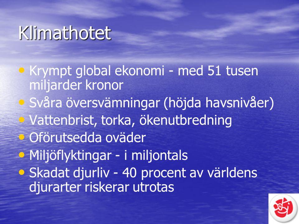 Klimathotet Krympt global ekonomi - med 51 tusen miljarder kronor Svåra översvämningar (höjda havsnivåer) Vattenbrist, torka, ökenutbredning Oförutsed