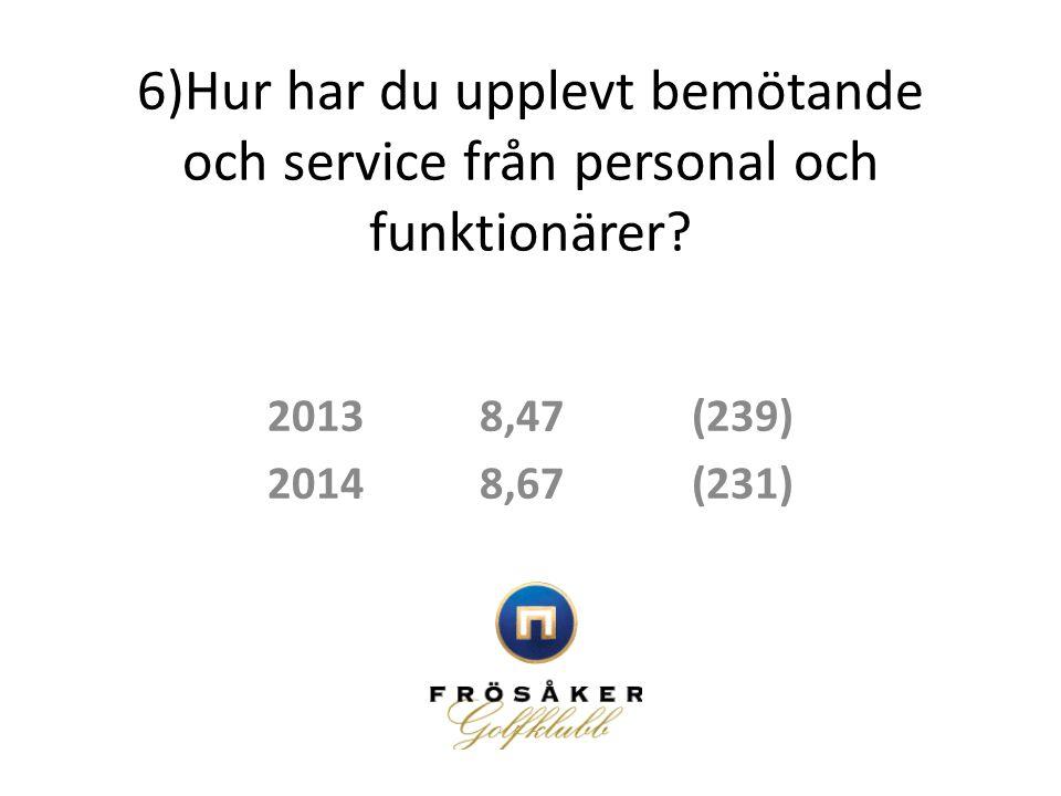 6)Hur har du upplevt bemötande och service från personal och funktionärer? 20138,47(239) 20148,67(231)