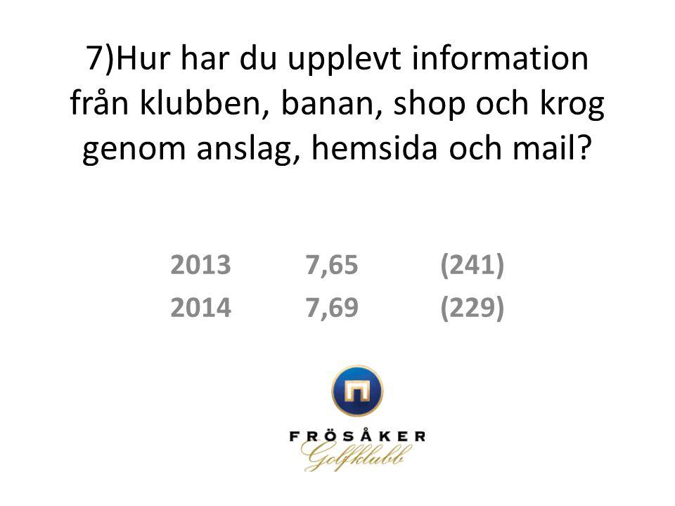 7)Hur har du upplevt information från klubben, banan, shop och krog genom anslag, hemsida och mail? 20137,65(241) 20147,69(229)