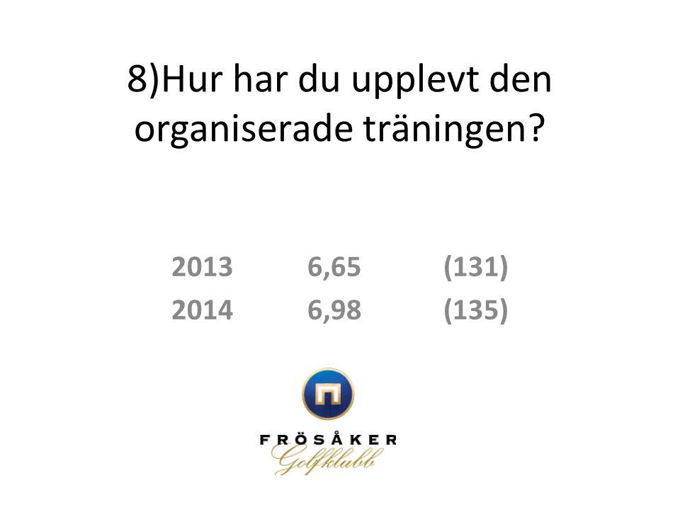 8)Hur har du upplevt den organiserade träningen? 20136,65(131) 20146,98(135)
