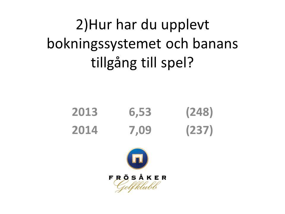 2)Hur har du upplevt bokningssystemet och banans tillgång till spel? 20136,53(248) 20147,09(237)