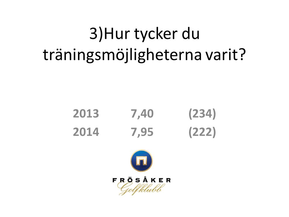 3)Hur tycker du träningsmöjligheterna varit? 20137,40(234) 20147,95(222)