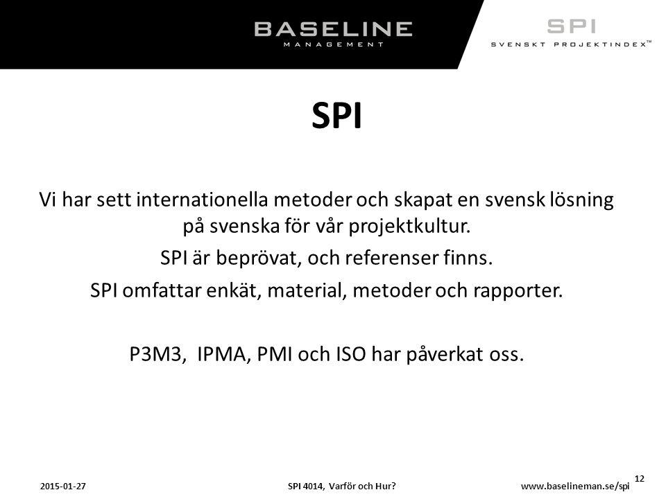 SPI 4014, Varför och Hur?2015-01-27 12 www.baselineman.se/spi SPI Vi har sett internationella metoder och skapat en svensk lösning på svenska för vår