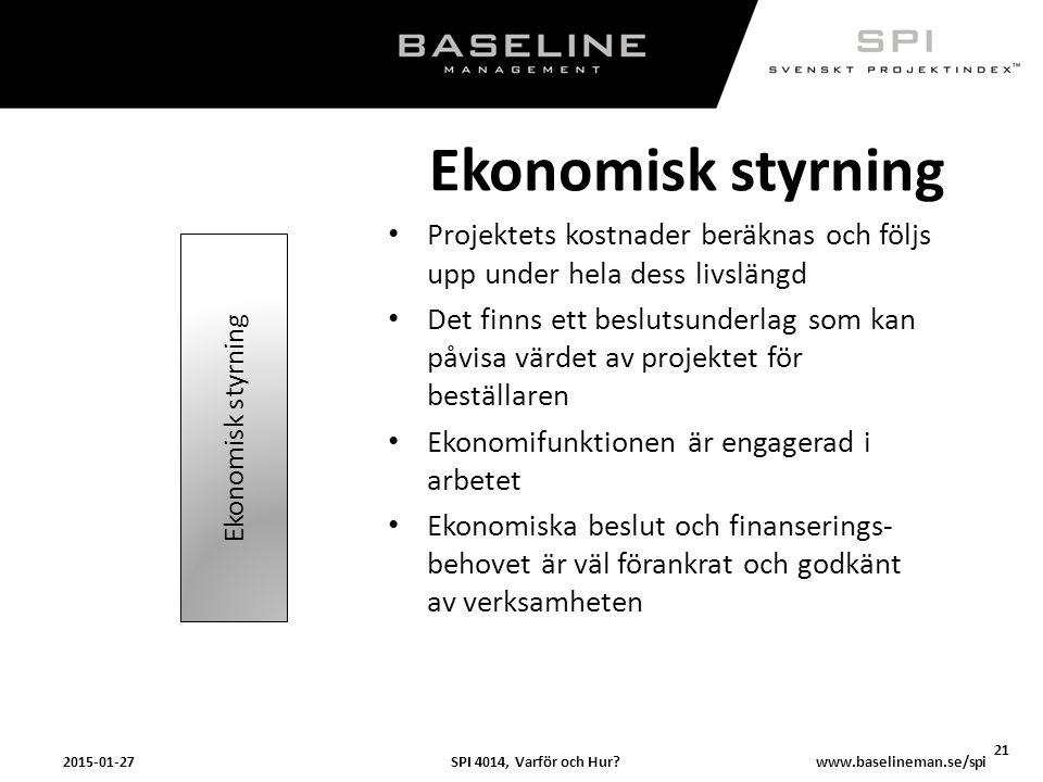 SPI 4014, Varför och Hur?2015-01-27 21 www.baselineman.se/spi Ekonomisk styrning Projektets kostnader beräknas och följs upp under hela dess livslängd