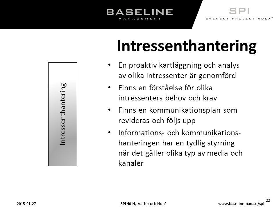 SPI 4014, Varför och Hur?2015-01-27 22 www.baselineman.se/spi Intressenthantering En proaktiv kartläggning och analys av olika intressenter är genomfö