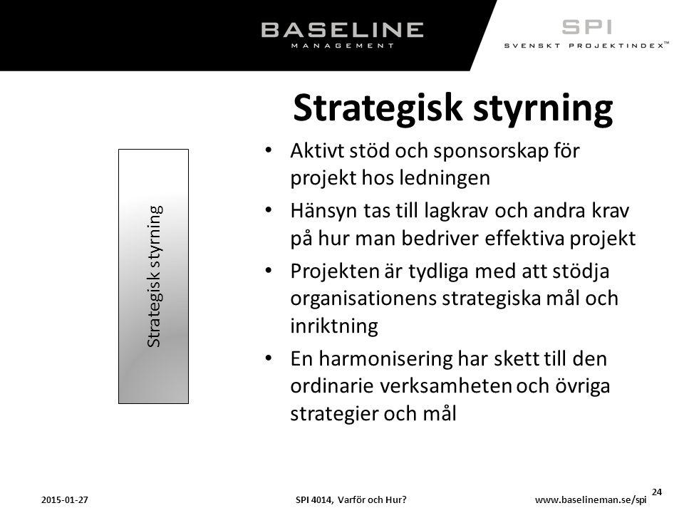 SPI 4014, Varför och Hur?2015-01-27 24 www.baselineman.se/spi Strategisk styrning Aktivt stöd och sponsorskap för projekt hos ledningen Hänsyn tas til