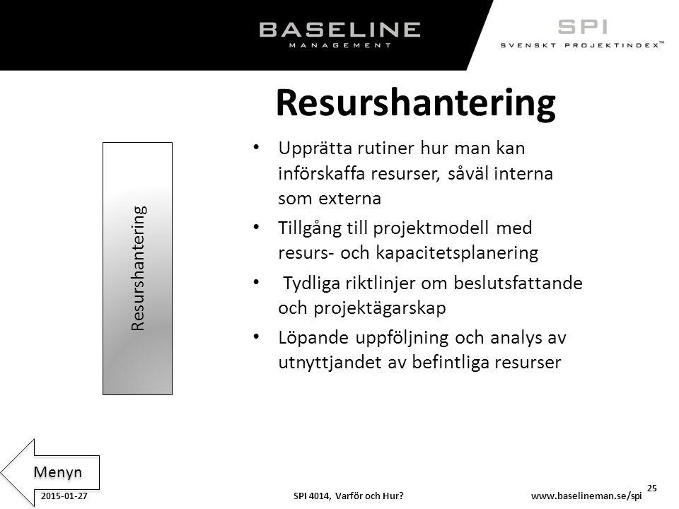 SPI 4014, Varför och Hur?2015-01-27 25 www.baselineman.se/spi Resurshantering Upprätta rutiner hur man kan införskaffa resurser, såväl interna som ext