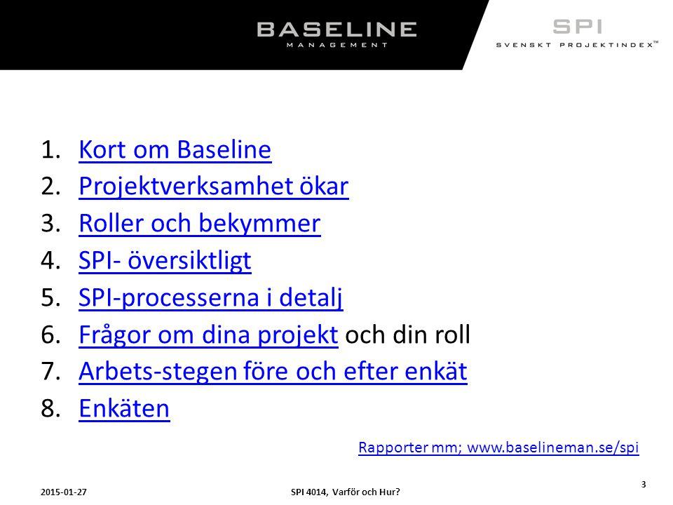 SPI 4014, Varför och Hur?2015-01-27 3 1.Kort om BaselineKort om Baseline 2.Projektverksamhet ökarProjektverksamhet ökar 3.Roller och bekymmerRoller oc