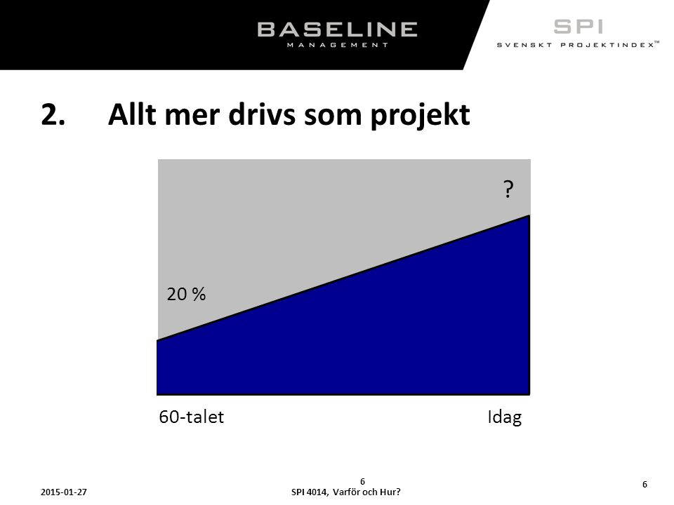 SPI 4014, Varför och Hur?2015-01-27 7 25% av världens BNP utgörs av projekt- relaterad verksamhet Om detta gäller i Sverige; 0,25 x 3 500 000 000 000 kr = 875 000 000 000 kr 7..men finns kompetensen inom organisationen?