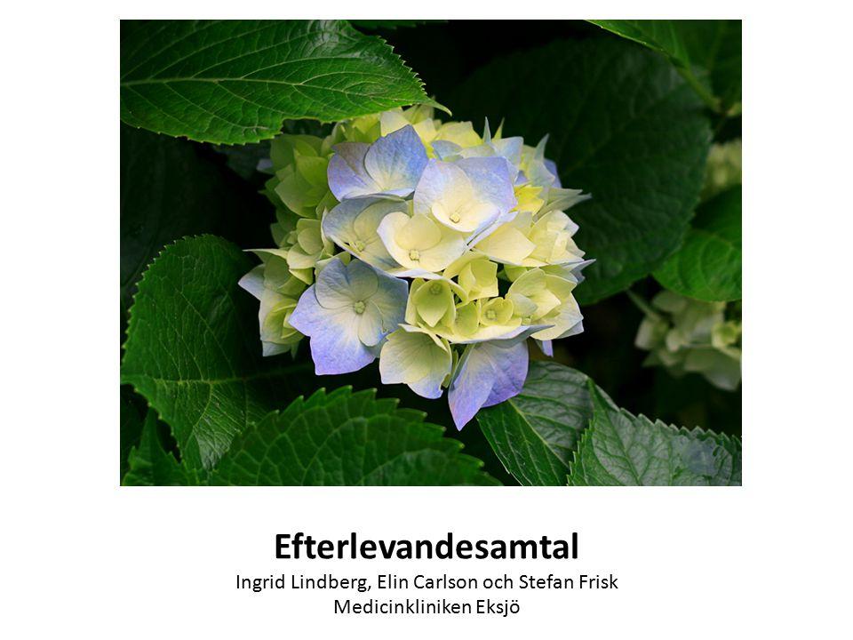 Efterlevandesamtal Ingrid Lindberg, Elin Carlson och Stefan Frisk Medicinkliniken Eksjö