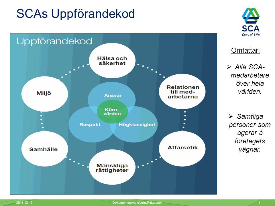 SCAs Uppförandekod 2014-12-19Dokumentansvarig Lena Pettersson1 Omfattar:  Alla SCA- medarbetare över hela världen.
