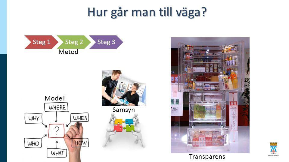 Hur går man till väga? Steg 1Steg 2Steg 3 Transparens Metod Modell Samsyn