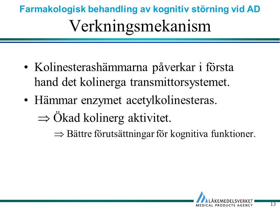 Farmakologisk behandling av kognitiv störning vid AD 13 Verkningsmekanism Kolinesterashämmarna påverkar i första hand det kolinerga transmittorsystemet.